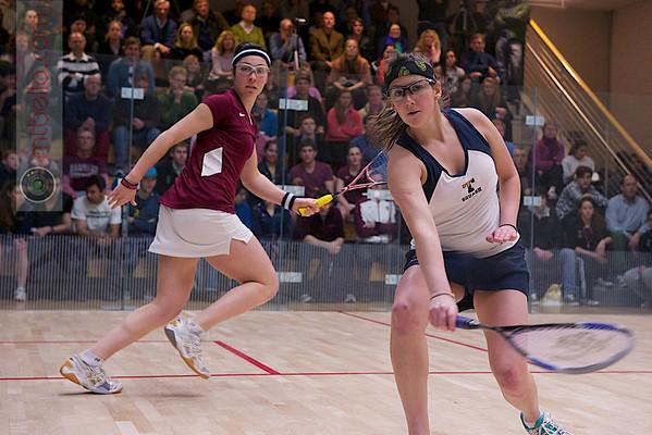 2012 Men's College Squash Association Team Championship Final: Amanda Sobhy (Harvard) andCatalina Pelaez (Trinity)  Published on page 2 of Squash Magazine (March 2012)