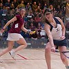 2012 Men's College Squash Association Team Championship Final: Amanda Sobhy (Harvard) and	Catalina Pelaez (Trinity)<br /> <br /> Published on page 2 of Squash Magazine (March 2012)