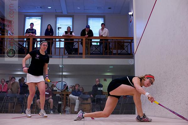 2012 College Squash Individual Championships: Amanda Sobhy (Harvard) and Elizabeth Eyre (Princeton)