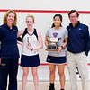 2012 College Squash Individual Championships: Wendy Bartlett, Robyn Hodgson (Trinity), Shuihui Mao (Yale), and Dave Talbott
