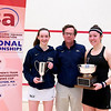 2012 College Squash Individual Championships: Millie Tomlinson (Yale), Dave Talbott, and Amanda Sobhy (Harvard)