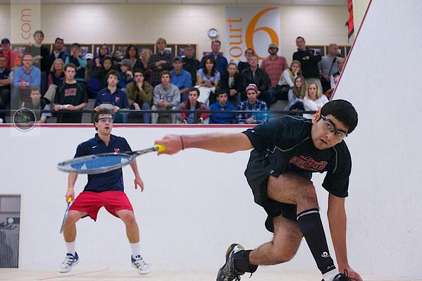 2012 Men's College Squash Association National Team Championships: John Dudzik (Penn) and Amay Merchant (St. Lawrence)