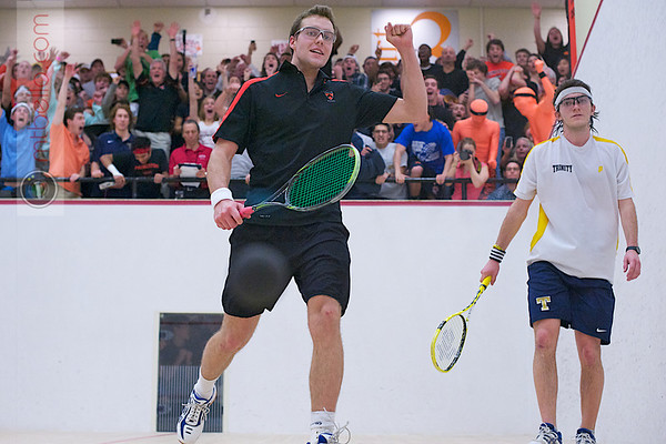 """2012 Men's College Squash Association Team Championship Final: Reinhold Hergeth (Trinity) and Kelly Shannon (Princeton) - The moment of victory <br><br> <a href=""""http://www.mtbello.com/Portfolio/Squash-Magazine-Covers/26976705_DbcFcM#!i=2261365157&amp;k=hXxvdmr"""">Cover photo of Squash Magazine (February 2012)</a> <br><br> <a href=""""http://paw.princeton.edu/issues/2012/03/21/pages/1290/"""" title=""""Princeton Alumni Weekly"""" target=""""_blank"""">Princeton Alumni Weekly - March 21, 2012</a>  <br><br> Published again on page 11 pf the March 2017 Squash Magazine (Five Year Anniversary)  <br><br> Published again on page 25 pf the October 2017 Squash Magazine"""