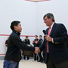 2012 Men's College Squash Association National Team Championships: Peter Yik receiving his Hall of Fame recognition and Bob Callahan (Princeton)