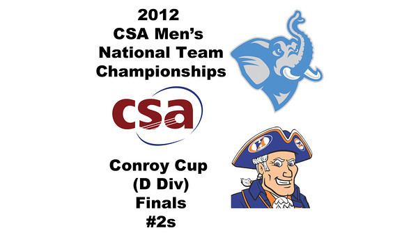 2012 Men's College Squash Association National Team Championships - Conroy Cup (D Division): Daniel Pelaez (Hobart) and Alex Nalle (Tufts)