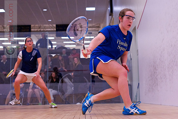 2012 NESCAC Championships: Charlotte Dewey (Middlebury) and Claire Corroon (Hamilton)
