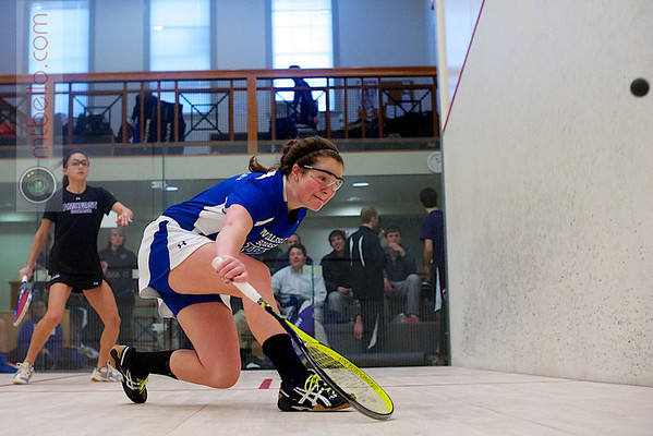 2012 Pioneer Valley Invitational: Arielle Lehman (Amherst) and Emma Haley (Wellesley)<br /> <br /> Published on page 226 of Squash Magazine (October 2012)