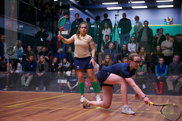 2013 College Squash Individual Championships: Kanzy El Defrawy (Trinity) and Millie Tomlinson (Yale)
