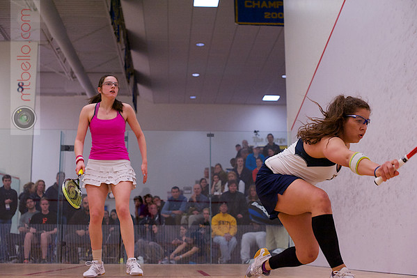 2013 College Squash Individual Championships: Kanzy El Defrawy (Trinity) and Laura Gemmell (Harvard)