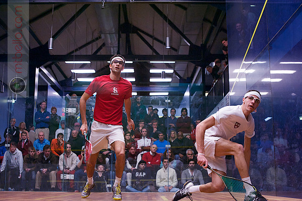 2013 College Squash Individual Championships: Amr Khaled Khalifa (St. Lawrence) and Ali Farag (Harvard)  Published on page 25 of Squash Magazine (December 2013)