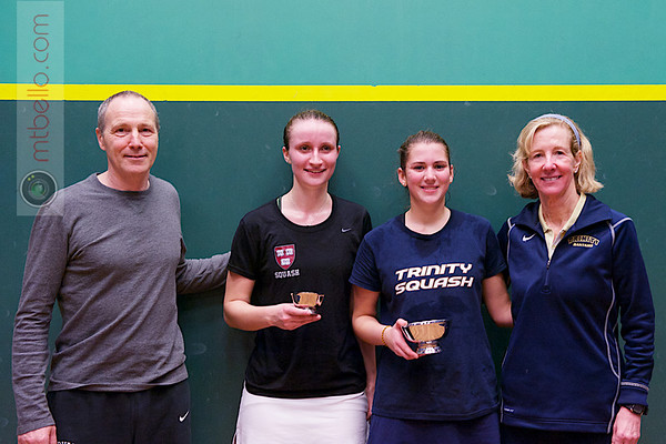 2013 College Squash Individual Championships: Mike Way, Wendy Bartlett, Catalina Pelaez (Trinity) and Haley Mendez (Harvard)
