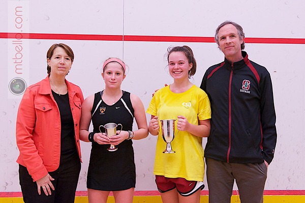 2013 College Squash Individual Championships: Gail Ramsay, Mark Talbott, Madeleine Gill (Stanford) and Alexis Saunders (Princeton)