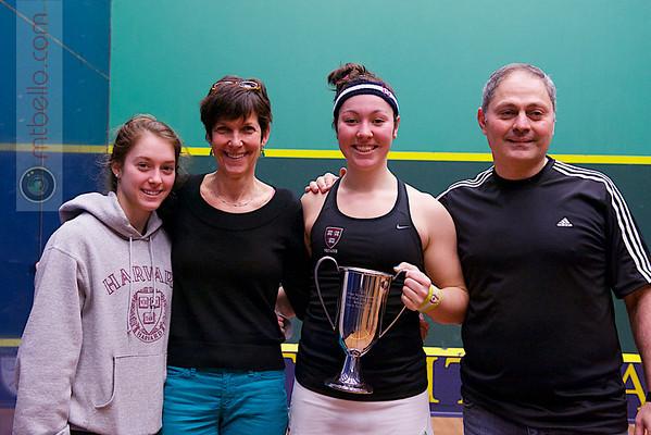 2013 College Squash Individual Championships: Amanda Sobhy (Harvard) and family
