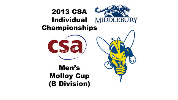 2013 College Squash Individual Championships - Molloy Cup - Consol 1: Jay Dolan (Middlebury) and Oscar Lopez (Rochester)