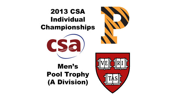 2013 College Squash Individual Championships - Pool Trophy - Round of 32: Samuel Kang (Princeton) and Gary Power (Harvard)