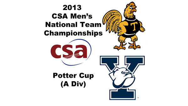 2013 Men's College Squash National Team Championships: Zeyad Elshorfy (Trinity) and Eric Caine (Yale)