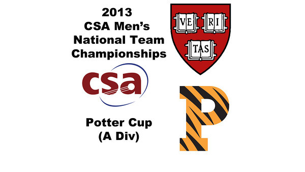 2013 Men's College Squash National Team Championships: Vivek Dinodia (Princeton) and Zeke Scherl (Harvard)
