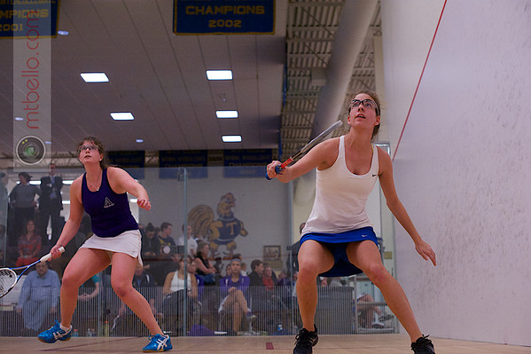 2013 NESCAC Championships: Hannah Coffin (Hamilton) and Evelyn Kramer (Amherst)