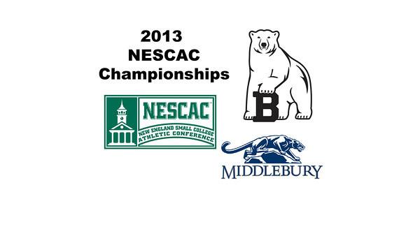 2013 NESCAC Championships: Lindsay Becker (Middlebury) and Christiana Whitcomb (Bowdoin)