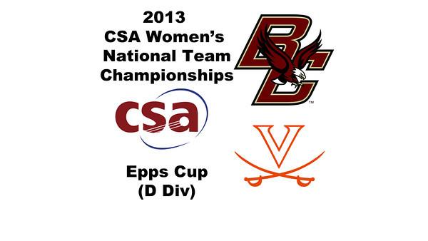 2013 Women's College Squash Association National Team Championships: Celia Dyer (UVA) and Elizabeth King (Boston College)