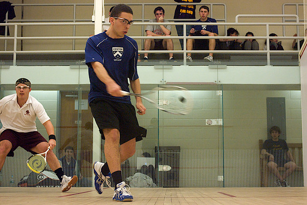 Danilo Lobo Dias (Kenyon) and Philippe Katz (Boston College)<br /> <br /> This photo was published in the March 2010 issue of Squash Magazine (page 31).