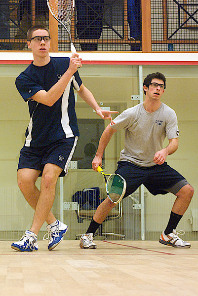 Pat Cunningham (F&M) and William Greenberg (Colby)<br /> <br /> This photo was published in the October 2010 issue of Squash Magazine (page 39).