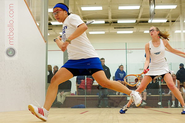 Rosemary O'Connor (Wellesley) and Laura Abrams (Conn College)<br /> <br /> Published on page 3 of the 2011 Women's College Squash Association National Team Championship Program.