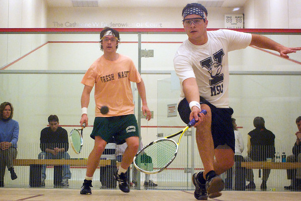 Jack Barrett (Dartmouth) and Sharyar Aziz (Yale)<br /> <br /> This photo was published in the December 2009 issue of Squash Magazine (page 30).
