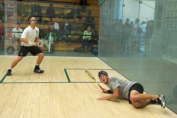Sam Gould (Stanford) and Nick Sisodia (Dartmouth)<br /> <br /> Published on page 6 of the 2011 Men's College Squash Association National Team Championship Program.