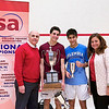 2012 College Squash Individual Championships: Ali Farag (Harvard), his parents, and Ramit Tandon (Columbia)