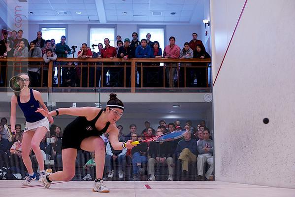 2012 College Squash Individual Championships: Amanda Sobhy (Harvard) and Millie Tomlinson (Yale)