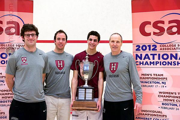 2012 College Squash Individual Championships: Luke Hammond, Reg Schonborn, Ali Farag (Harvard), and Mike Way
