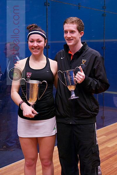 2013 College Squash Individual Championships: Amanda Sobhy (Harvard) and Todd Harrity (Princeton)
