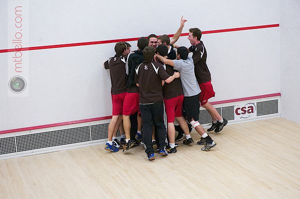 2012 Men's College Squash Association National Team Championships: St. Lawrence celebratig victory over Middlebury