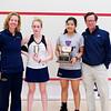 2012 College Squash Individual Championships: Wendy Bartlett, Robyn Hodgson (Trinity), Shuihui Mao (Yale), and Dave Talbott