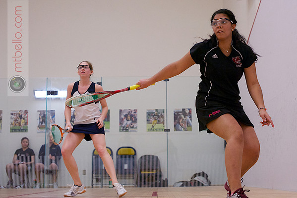2013 NESCAC Championships: Lindsay McDonough (Trinity) and Sugeiry Betances (Bates)
