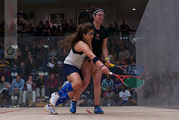 2013 Women's National Team Championships: Amanda Sobhy (Harvard) and Kanzy El Defrawy (Trinity)