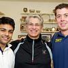 Trinity seniors Parth Sharma and Chris Binnie with coach Paul Assaiante