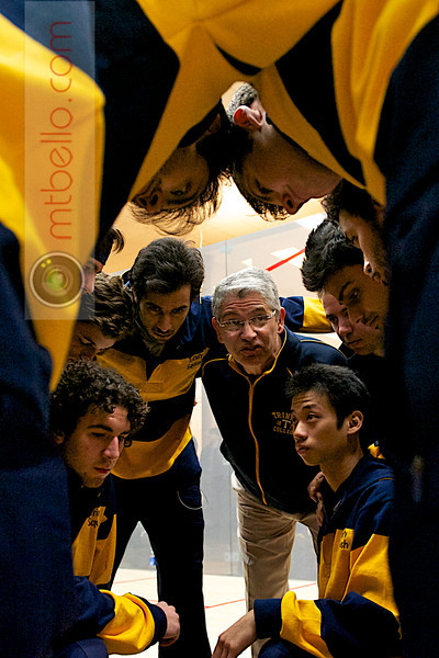 2011 Men's College Squash Association Team Championship Final: Trinity pre-match huddle<br /> <br /> This photo was published in the March 2011 issue of Squash Magazine (page 31).
