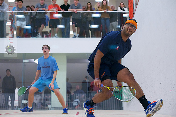2012 Men's College Squash Association National Team Championships: Edgardo Gonzalez (Hobart) and Michael Abboud (Tufts)<br /> <br /> Published on page 39 of Squash Magazine (March 2012)