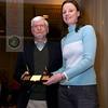 Wesleyan coach Shona Kerr inducts Jon Oxman into the Women's CSA Hall of Fame.