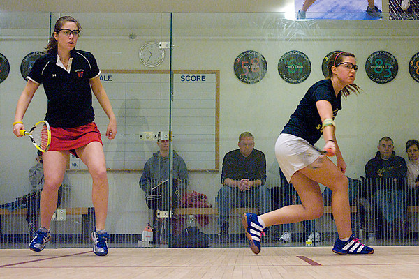 Casey N. Simchik (Wesleyan) and Katherine Bullard (George Washington)<br /> <br /> This photo was published in the March 2010 issue of Squash Magazine (page 30).