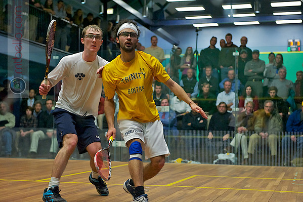 Richard Dodd (Yale) and Andres Vargas (Trinity)<br /> <br /> Published on page 3 of the 2011 Men's College Squash Association National Team Championship Program.