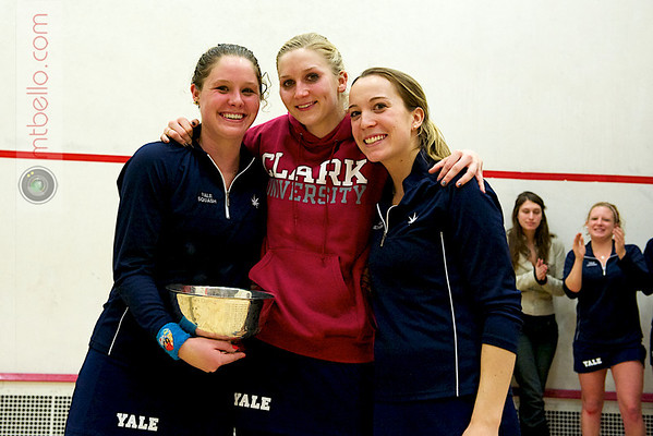 Tournament Director Craig Thorpe-Clark presenting Yale's captains with the 2011 Howe Cup Trophy.