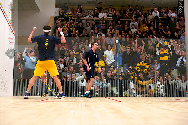 Chris Binnie (Trinity) and Richard Dodd (Yale)<br /> <br /> This photo was published in the March 2011 issue of Squash Magazine (page 28-29).