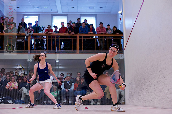2012 College Squash Individual Championships: Amanda Sobhy (Harvard) and Millie Tomlinson (Yale)<br /> <br /> Published on page 37 of Squash Magazine (March 2012)