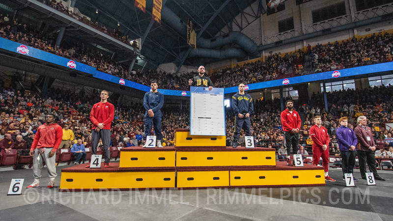 165: 1st - Alex Marinelli (Iowa), 2nd - Vincenzo Joseph (Penn State), 3rd - Logan Massa (Michigan), 4th - Evan Wick (Wisconsin), 5th - Isaiah White (Nebraska) 6th - Te`Shan Campbell (Ohio State), 7th - Bryce Martin (Indiana), 8th - Tyler Morland (Northwestern)