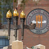 Heritage Tower Torches. Vires, Artes, Mores. University Center. Campus Scenes.