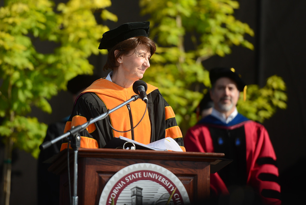 . Provost and vice president for academic affairs Debra S. Larson speaks during the Chico State University College of Natural Sciences and College of Engineering, Computer Science & Construction Management Commencement, May 19, 2018,  in Chico, California. (Carin Dorghalli -- Enterprise-Record)
