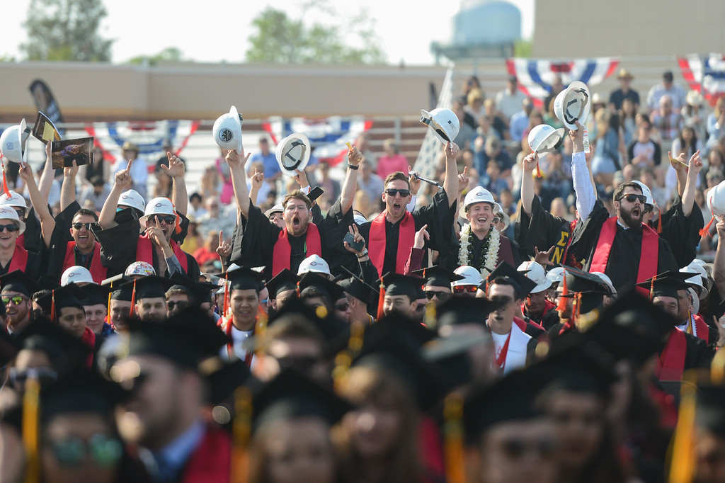 . Construction management majors celebrate during the Chico State University College of Natural Sciences and College of Engineering, Computer Science & Construction Management Commencement, May 19, 2018,  in Chico, California. (Carin Dorghalli -- Enterprise-Record)